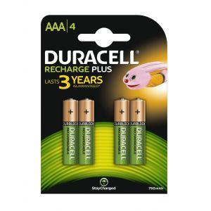 Duracell Recharge Plus AAA-batterijen, verpakking van 4