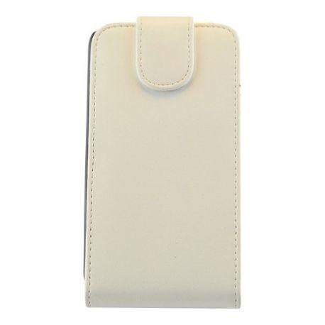 Samsung S4 Flip case Leer uiterlijk Wit