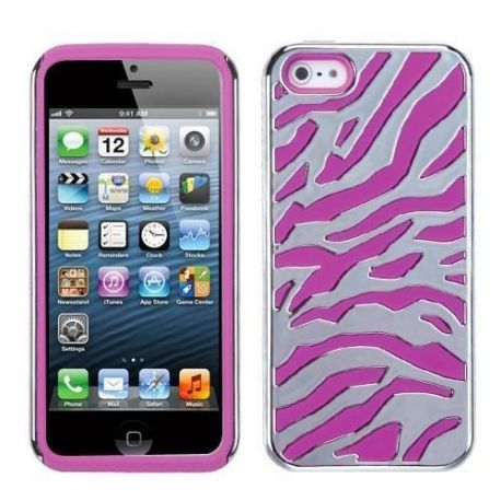 Iphone 5 - 2in1 case - Pink/silver design