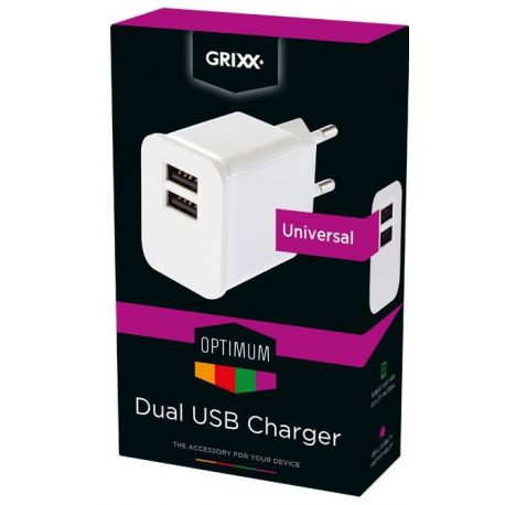 Power Adapter met dubbele USB Wit