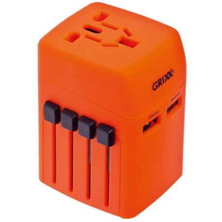 Travel Adapter 2 x USB Universal Rubber Coated