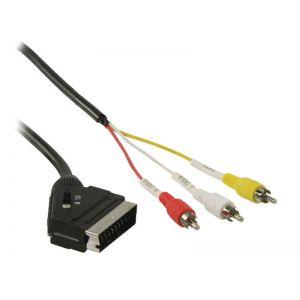 Valueline SCART Male naar 3x RCA Male Kabel 2 Meter - Zwart