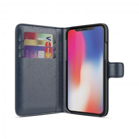 BeHello Wallet Case met 3 Cardslots Blauw voor iPhone X