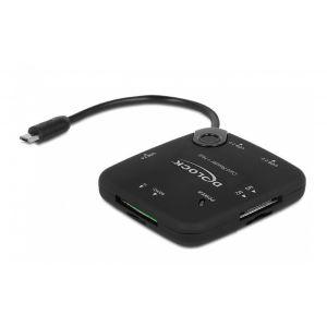 Delock Micro USB OTG Card Reader + 3 port USB Hub