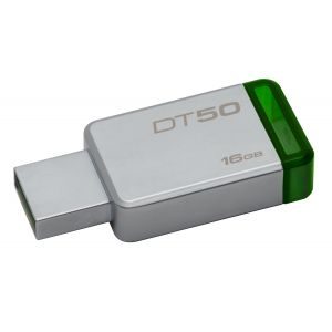 Kingston Technology DataTraveler 50 16GB 16GB USB 3.0 (3.1 Gen 1) USB-Type-A-aansluiting Groen, Zilver USB flash drive