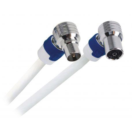 Coaxkabel FEKAB Coax Male (IEC) - Coax Female (IEC) 1.50 m Wit/Blauw