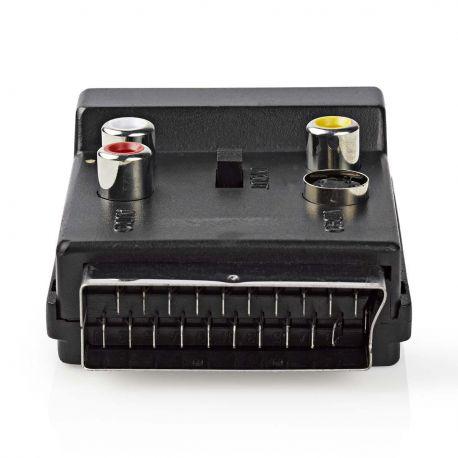 SCART-Adapter Schakelbaar SCART Male - SCART Female + S-Video Female + 3x RCA Female Zwart