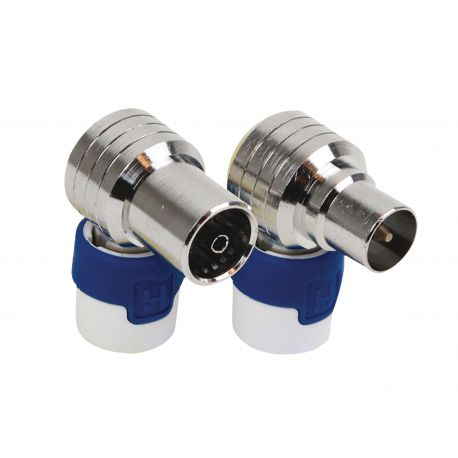 Coaxconnector Male + Female Wit/Blauw